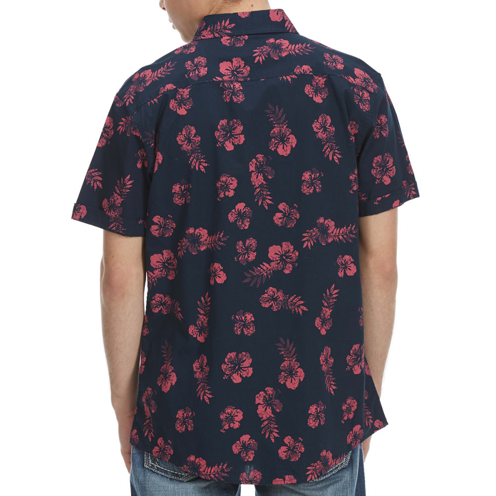 OCEAN CURRENT Guys' Hers Hibiscus Woven Short-Sleeve Shirt - CORAL