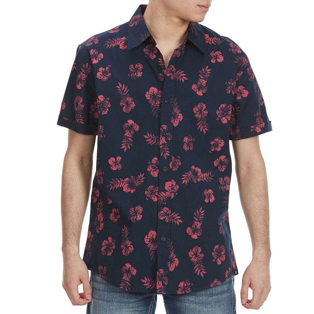 OCEAN CURRENT Guys' Hers Hibiscus Woven Short-Sleeve Shirt S