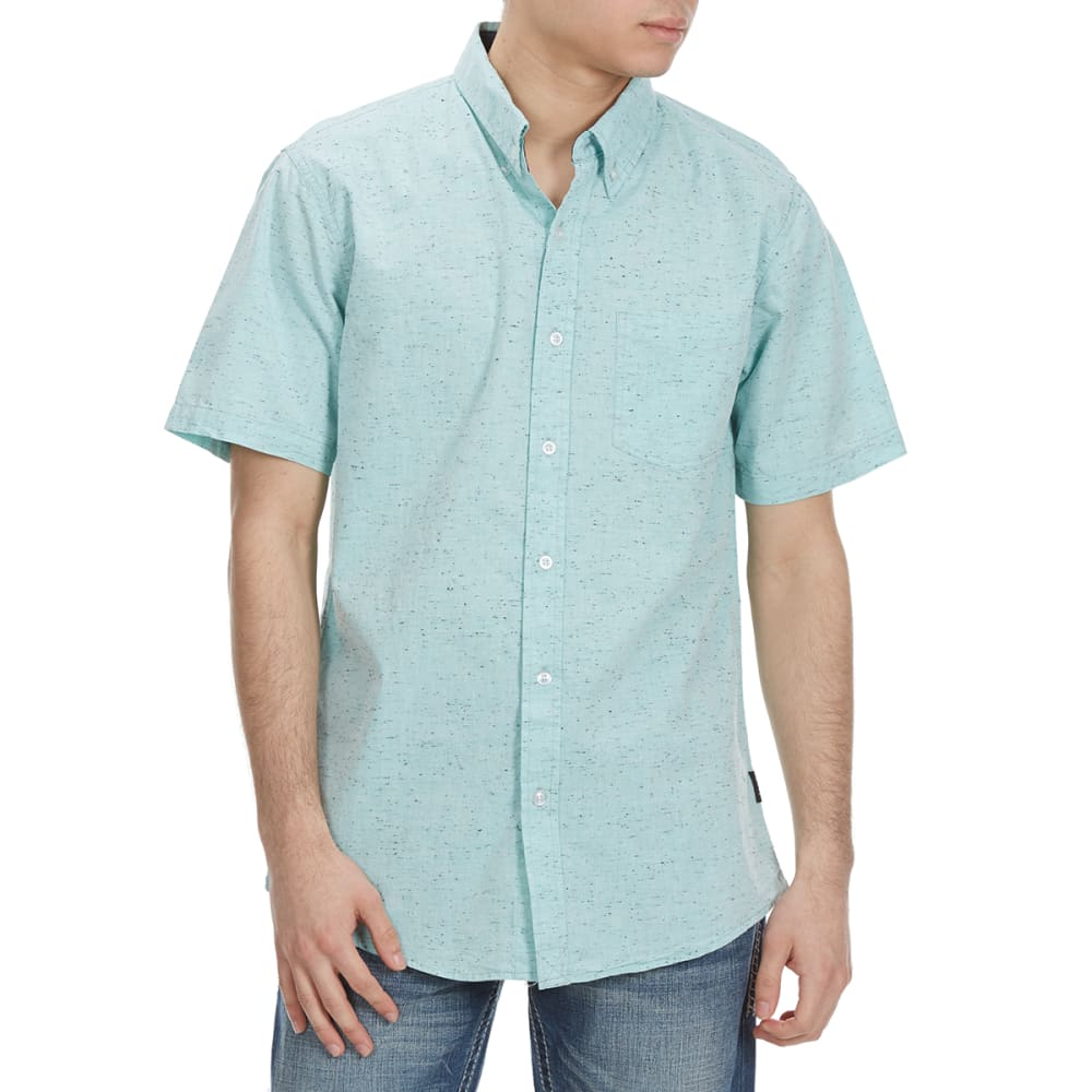 OCEAN CURRENT Guys' Orbic Non-Solid Woven Short-Sleeve Shirt - HEATHER MINT
