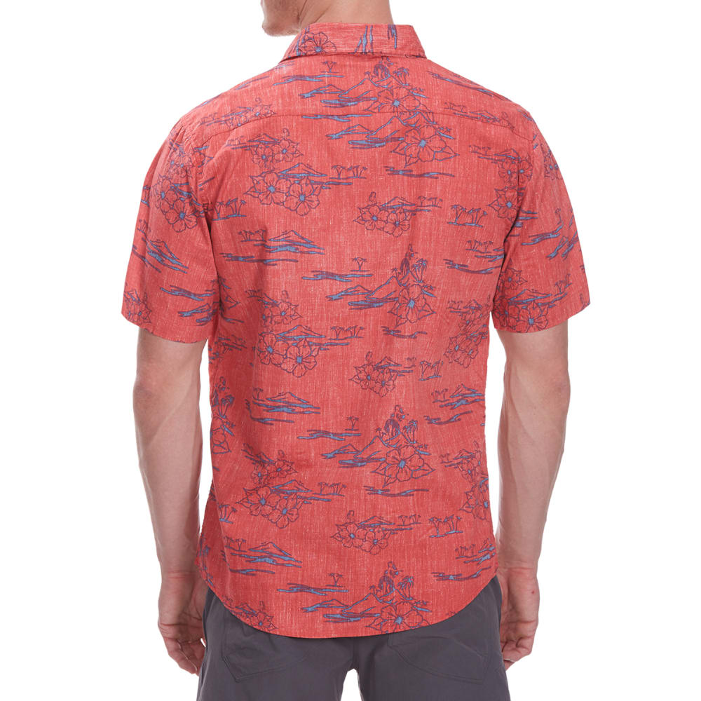 OCEAN CURRENT Guys' Hidden Hula Short-Sleeve Shirt - FADED RED