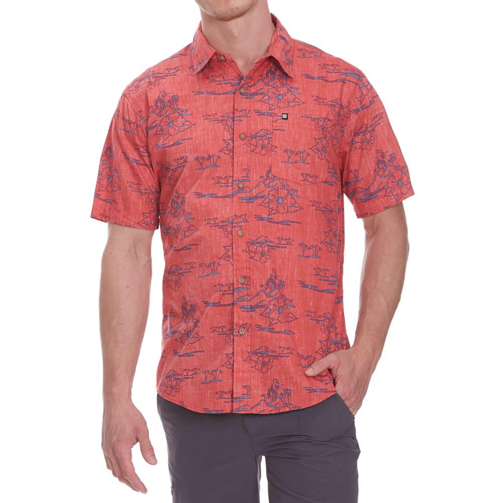 OCEAN CURRENT Guys' Hidden Hula Short-Sleeve Shirt - FADED RED