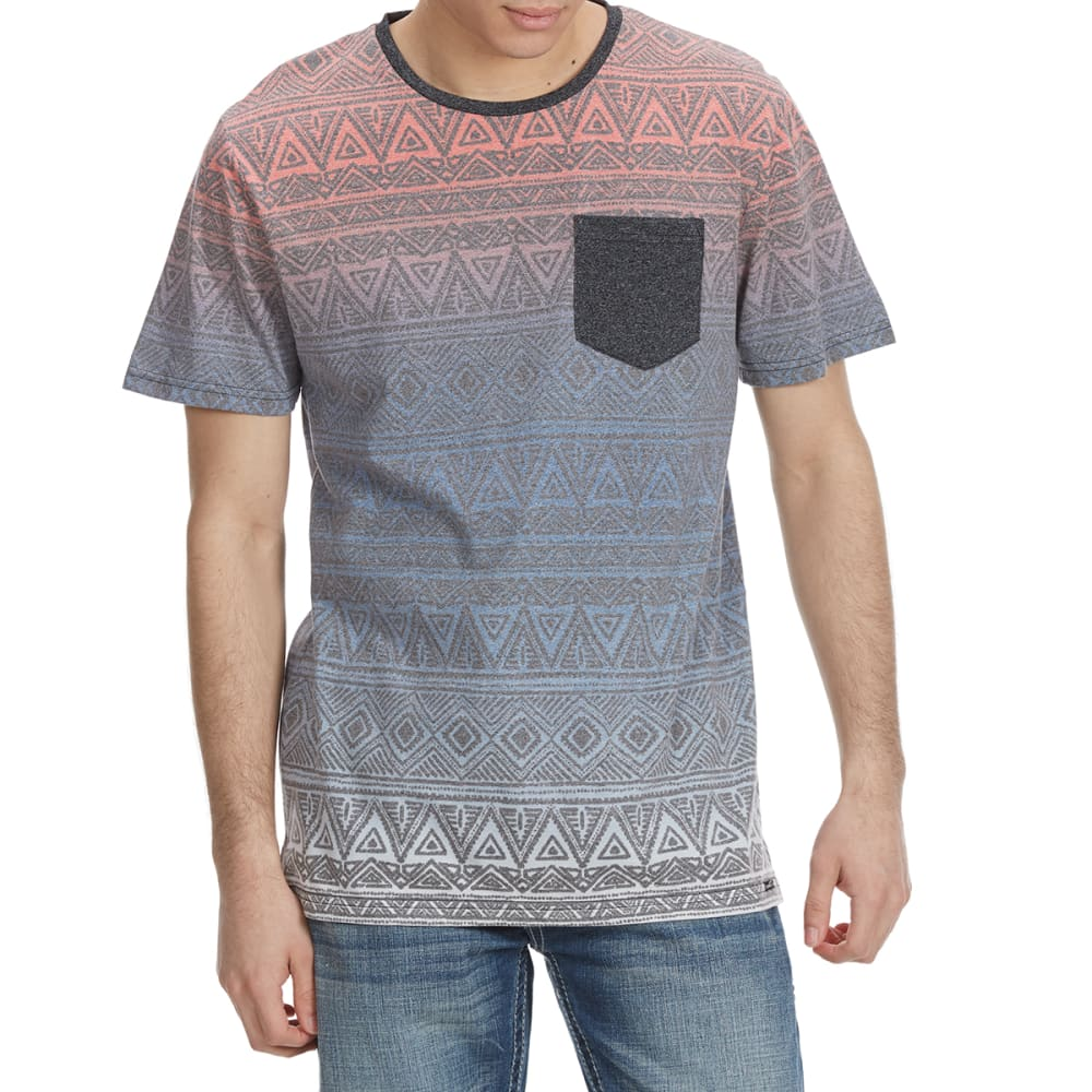 OCEAN CURRENT Guys' Vibez Mock Twist Aztec Knit Short-Sleeve Tee - BLACK