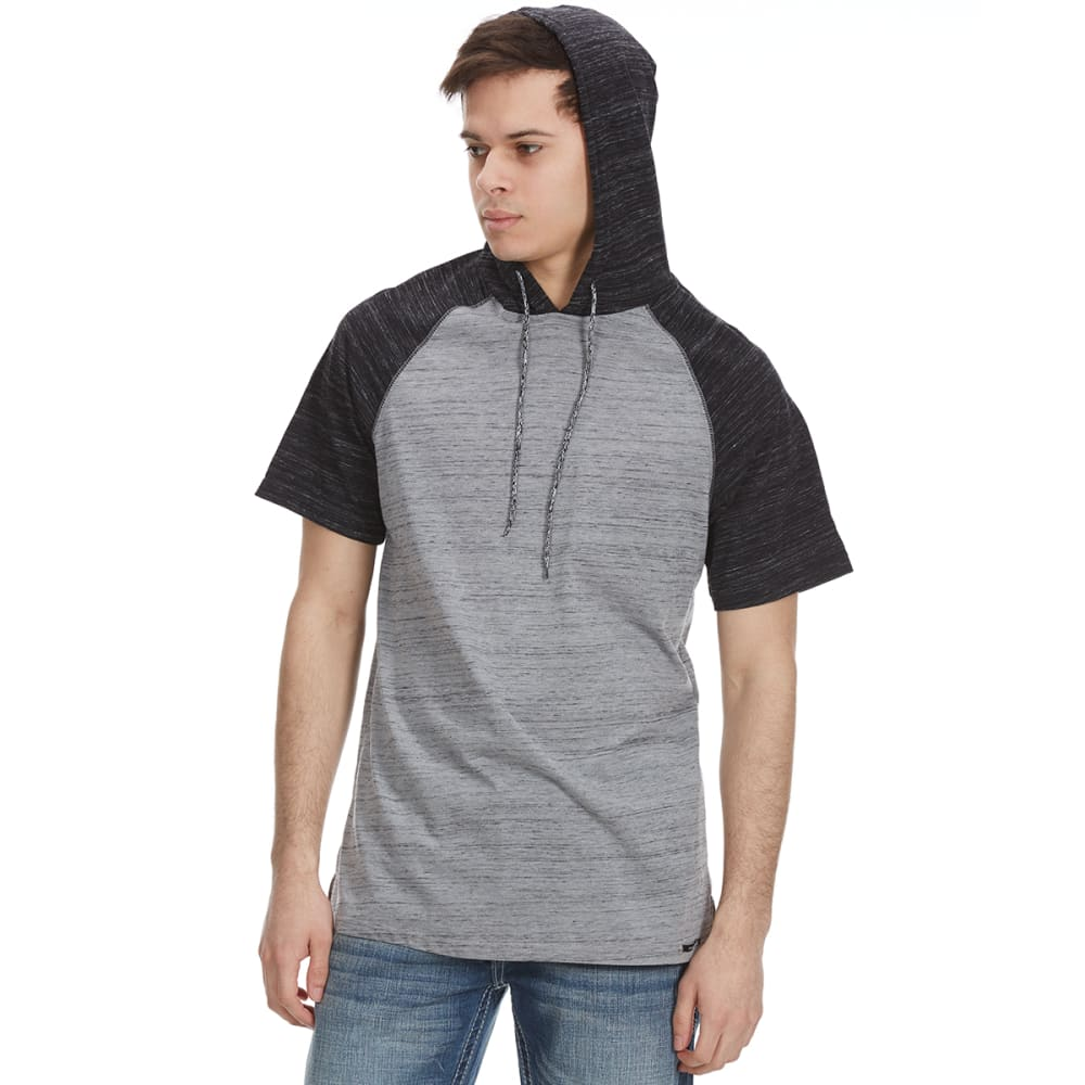 OCEAN CURRENT Guys' Push Raglan Hooded Short-Sleeve Shirt - MOUSE GREY