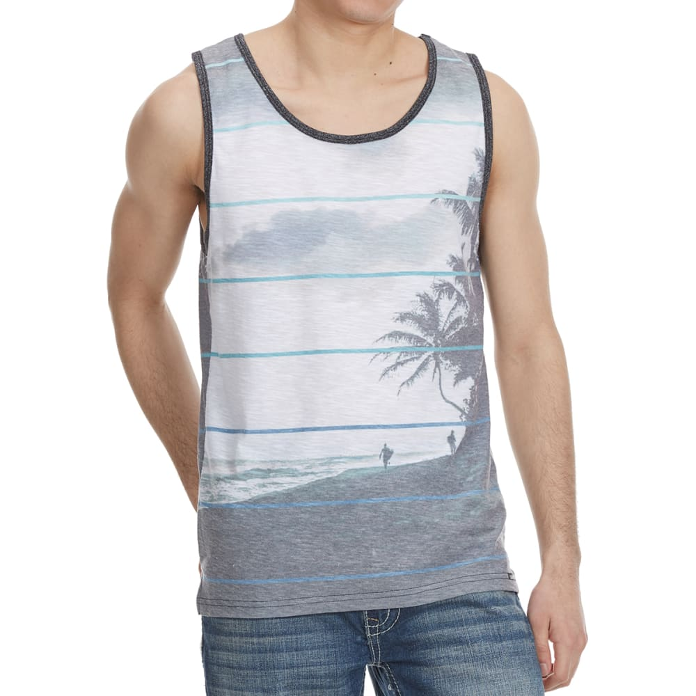 OCEAN CURRENT Guys' Alvarado Palm Scene Tank Top - BLACK/WHITE