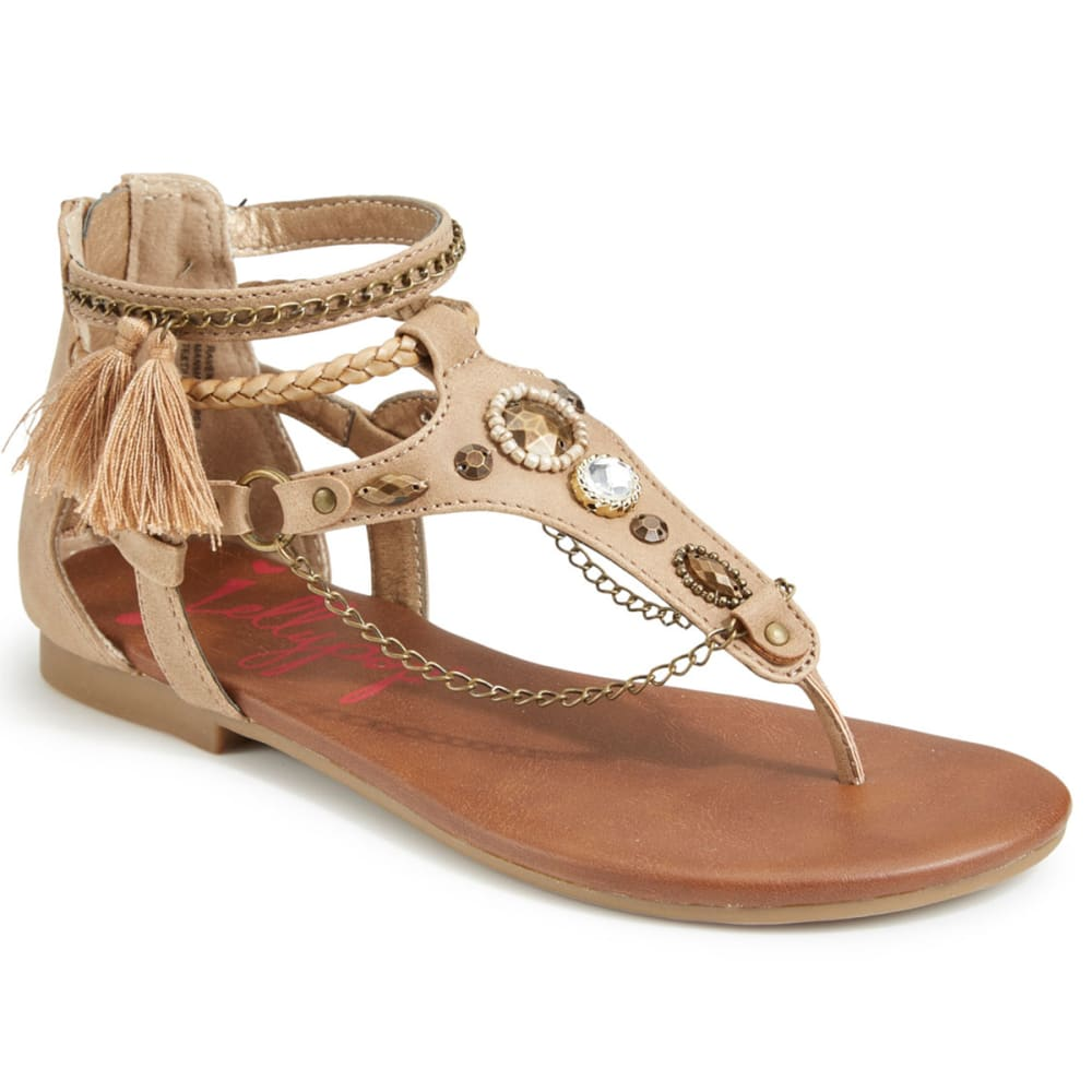 JELLYPOP Women's Ravenna Beaded Chain Flat Sandals - SAND