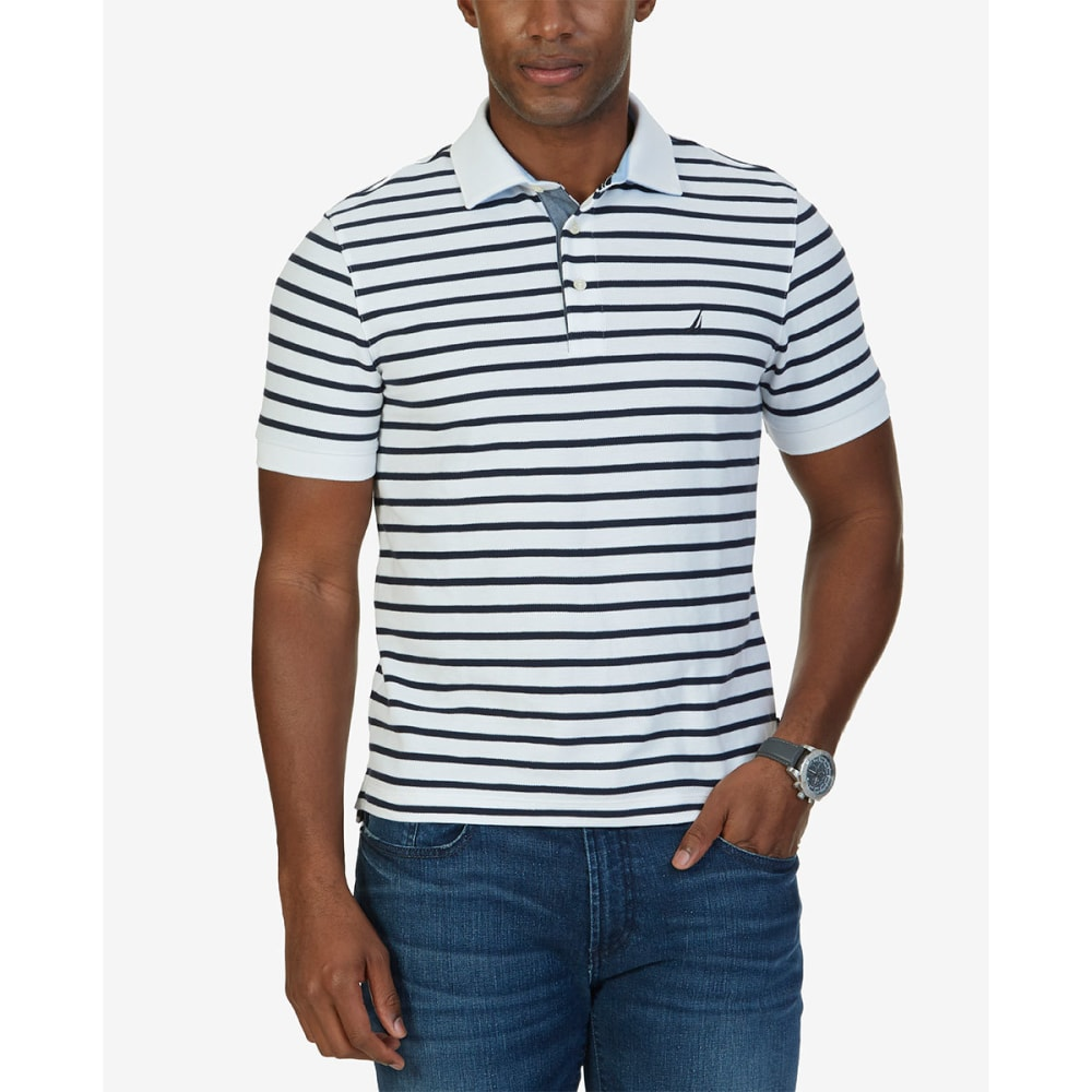NAUTICA Men's Classic Fit Striped Performance Polo Short-Sleeve Shirt - WHITE- 1BW