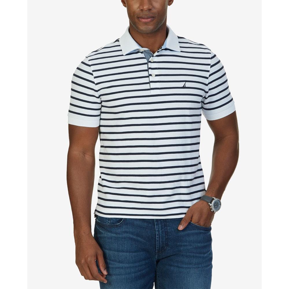 NAUTICA Men's Classic Fit Striped Performance Polo Short-Sleeve Shirt - WHITE- 1BW