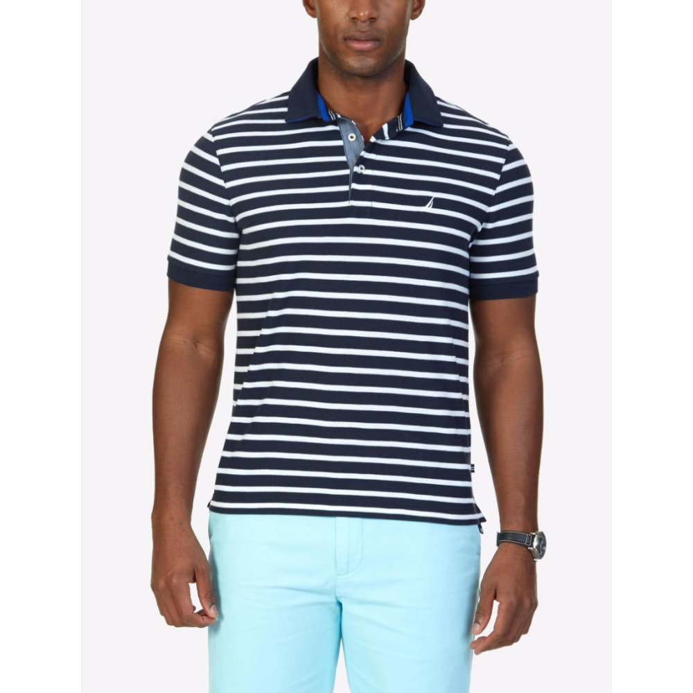 NAUTICA Men's Classic Fit Striped Performance Polo Short-Sleeve Shirt M
