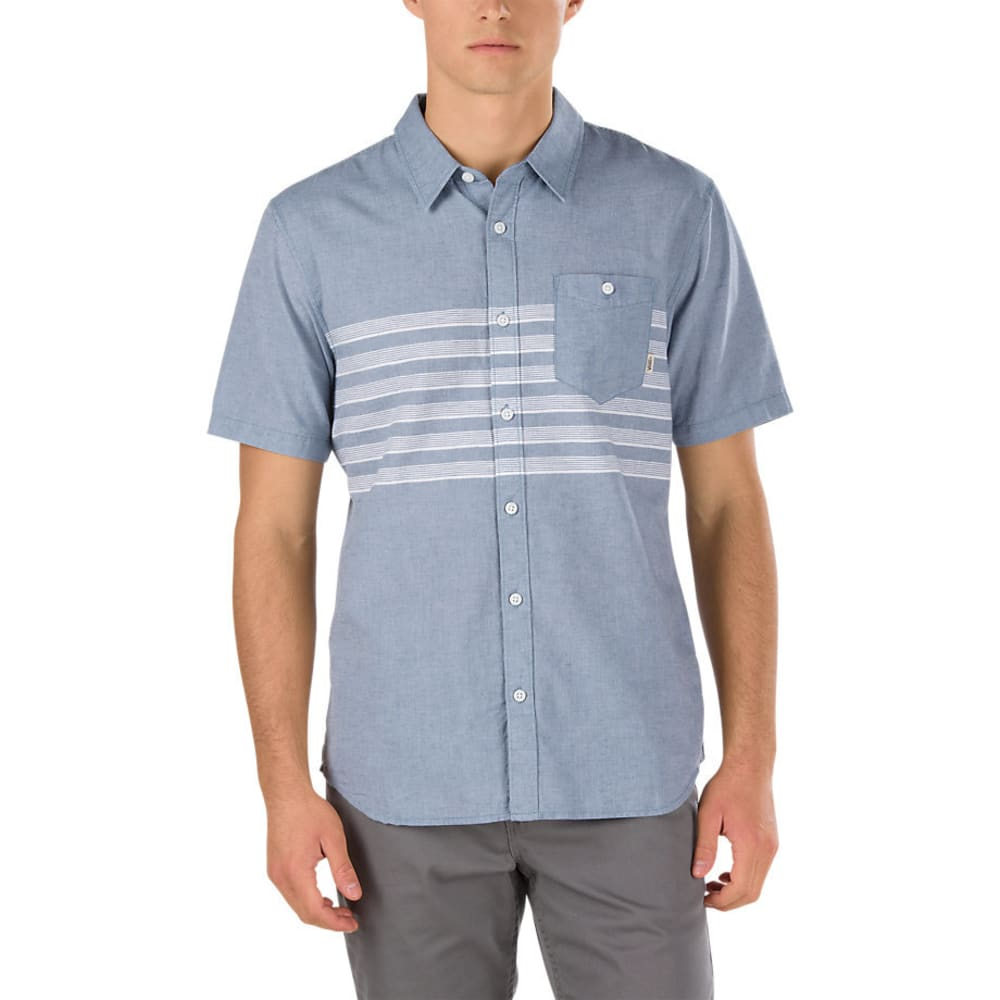 VANS Guys' Wallace Woven Short-Sleeve Shirt - BLUE MIRAGE
