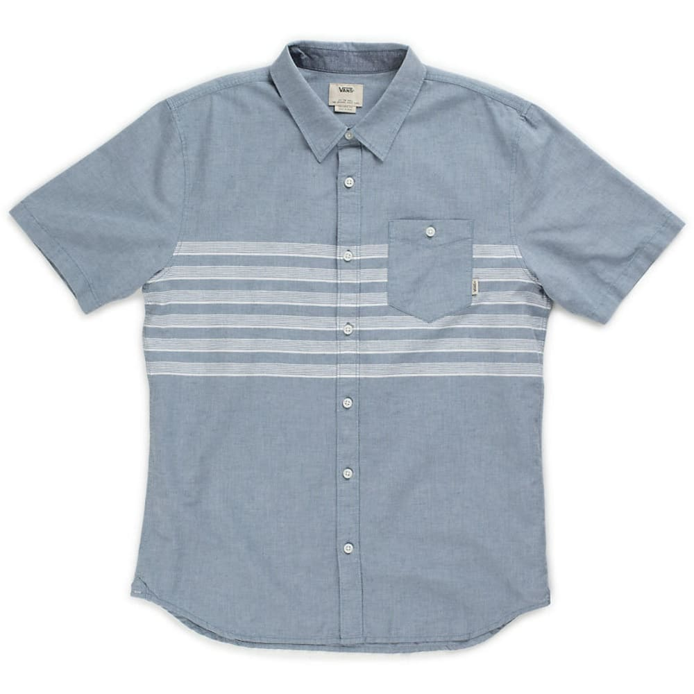 Vans Guys' Wallace Woven Short-Sleeve Shirt - Blue, S