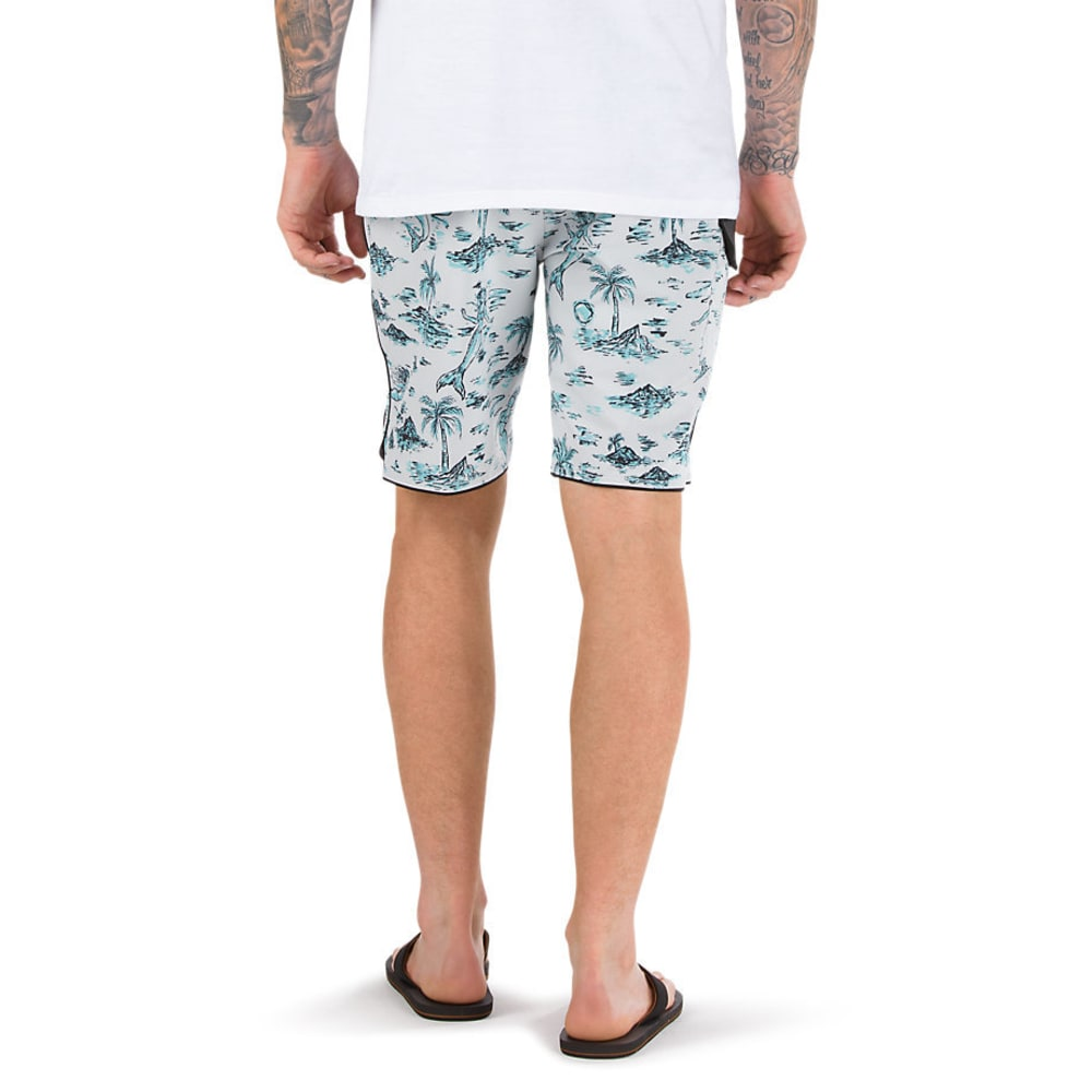 VANS Guys' 20 In. Mixed Scallop Boardshorts - WHITE STRANGE TIDES