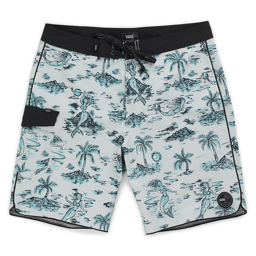 VANS Guys' 20 In. Mixed Scallop Boardshorts - WHITE STRANGE TIDES