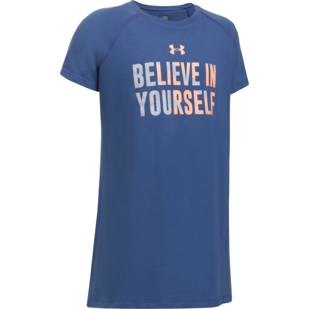 UNDER ARMOUR Girls' Believe In Yourself Short Sleeve Tee - DEEP PERI/PEACH 178
