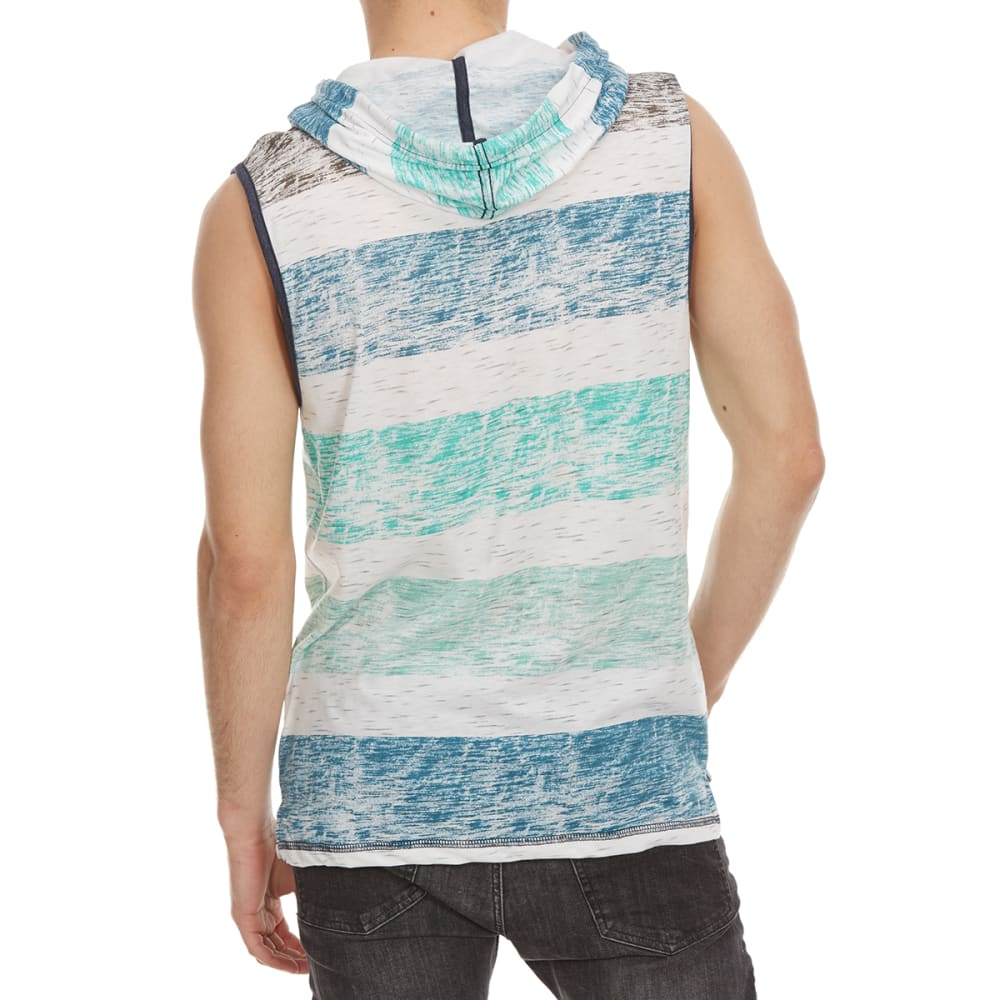 OCEAN CURRENT Guys' Baxter Rugby Stripe Hooded Muscle Top - WHT/BLU/GRN