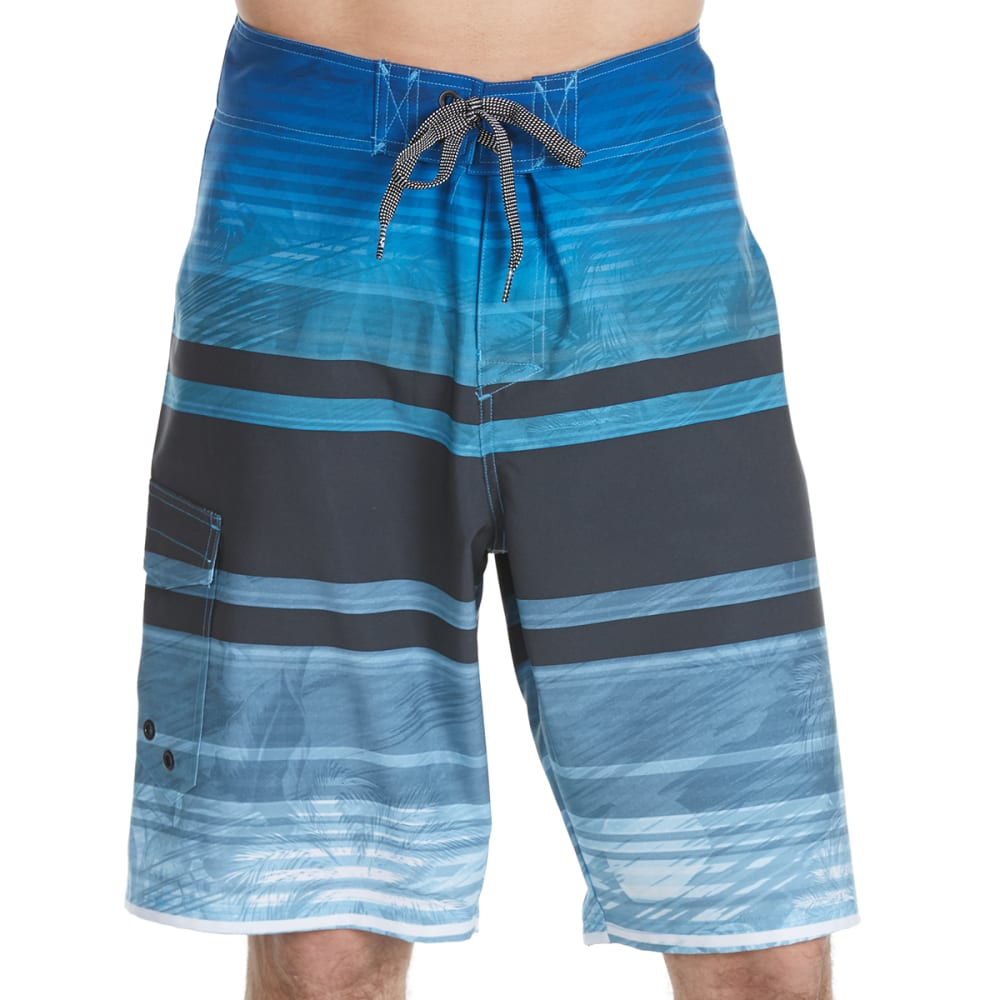 OCEAN CURRENT Guys' Briddle Horizontal Stripes with Palms Boardshorts - BLUE