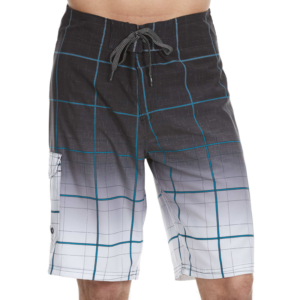 OCEAN CURRENT Guys' Gradient Stripe Plaid Boardshorts - GREY