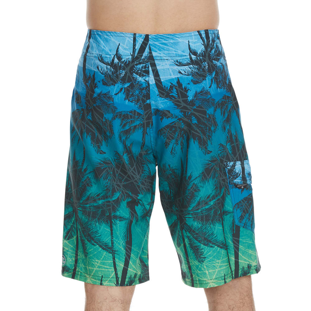 OCEAN CURRENT Guys' Tropical Palms Boardshorts - EMERALD
