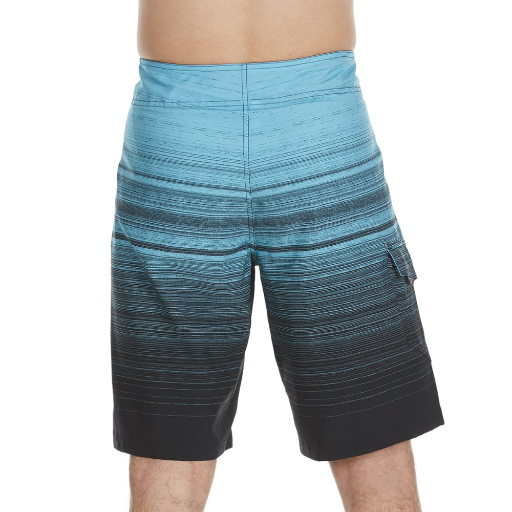 OCEAN CURRENT Guys' Waver Streaky Horizontal Stripe Boardshorts - BLUE