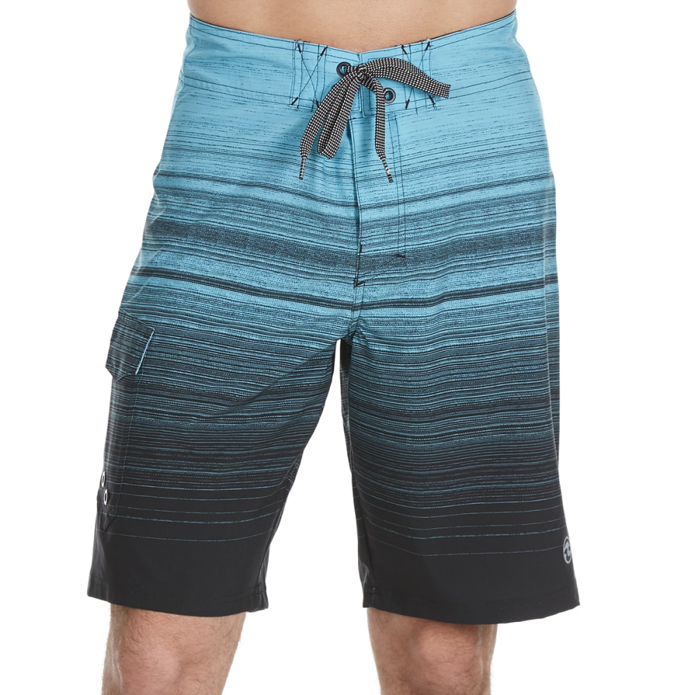 OCEAN CURRENT Guys' Waver Streaky Horizontal Stripe Boardshorts - BLUE