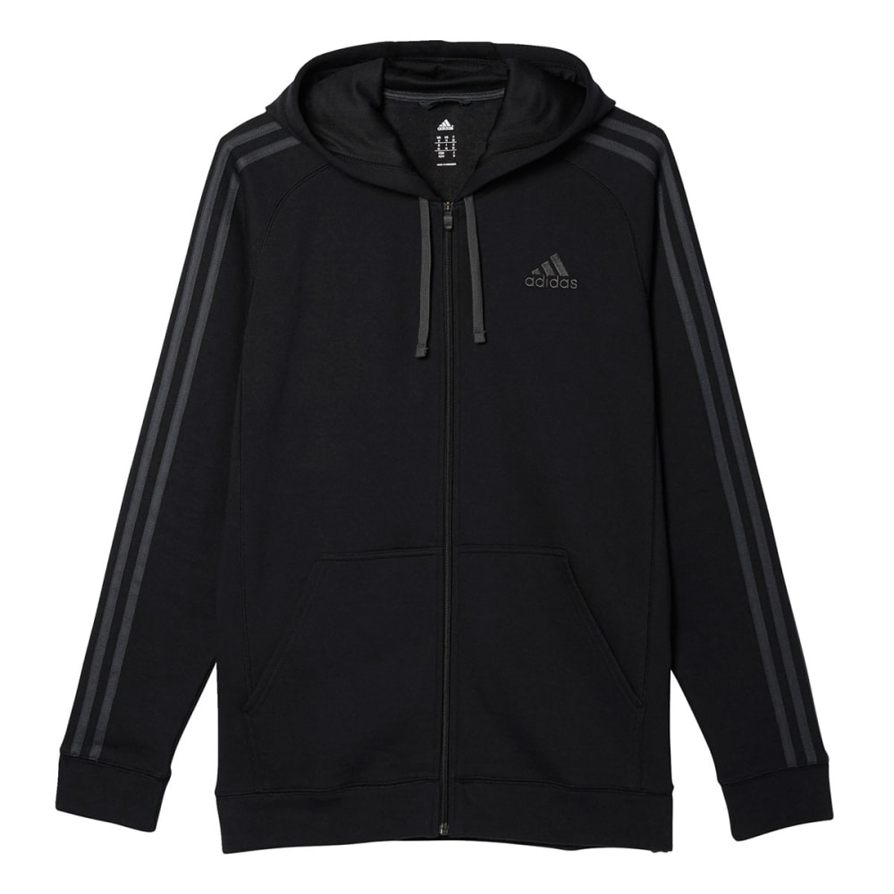 ADIDAS Men's Essential Cotton Fleece Full-Zip Hoodie - BLACK-AC3947