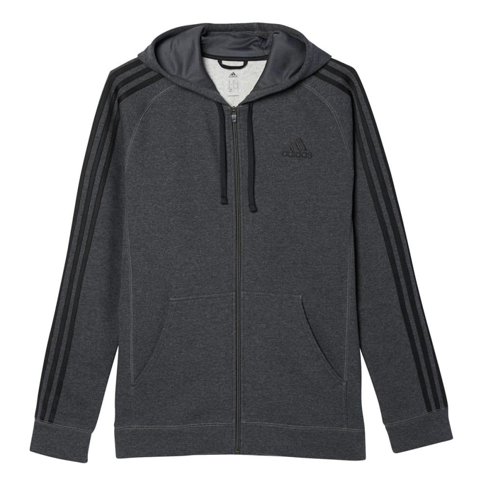 ADIDAS Men's Essential Cotton Fleece Full-Zip Hoodie - DK GRY HTR-AC3948