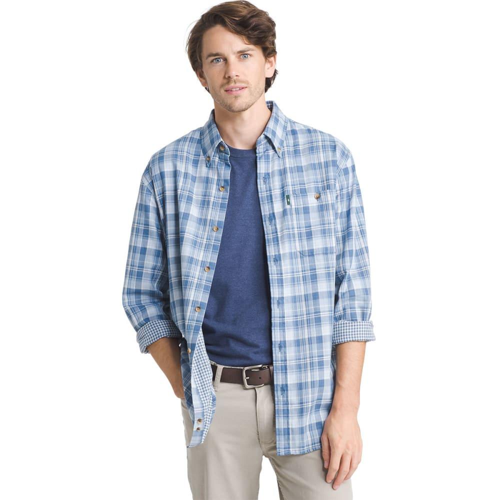 G.H. BASS & CO. Men's Lake Water Plaid Flannel Long-Sleeve Shirt - INDIGO SKY- 425