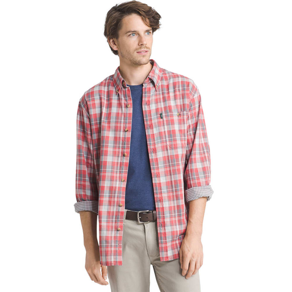 G.H. BASS & CO. Men's Lake Water Plaid Flannel Long-Sleeve Shirt - MINERAL RED- 646
