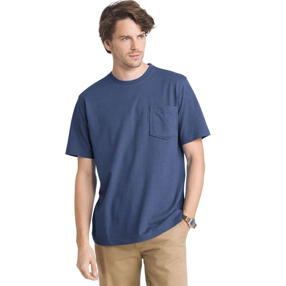 G.H. BASS & CO. Men's Explorer Performance Heather Jersey Pocket Short-Sleeve Tee - MEDIEVAL BLUE - 487