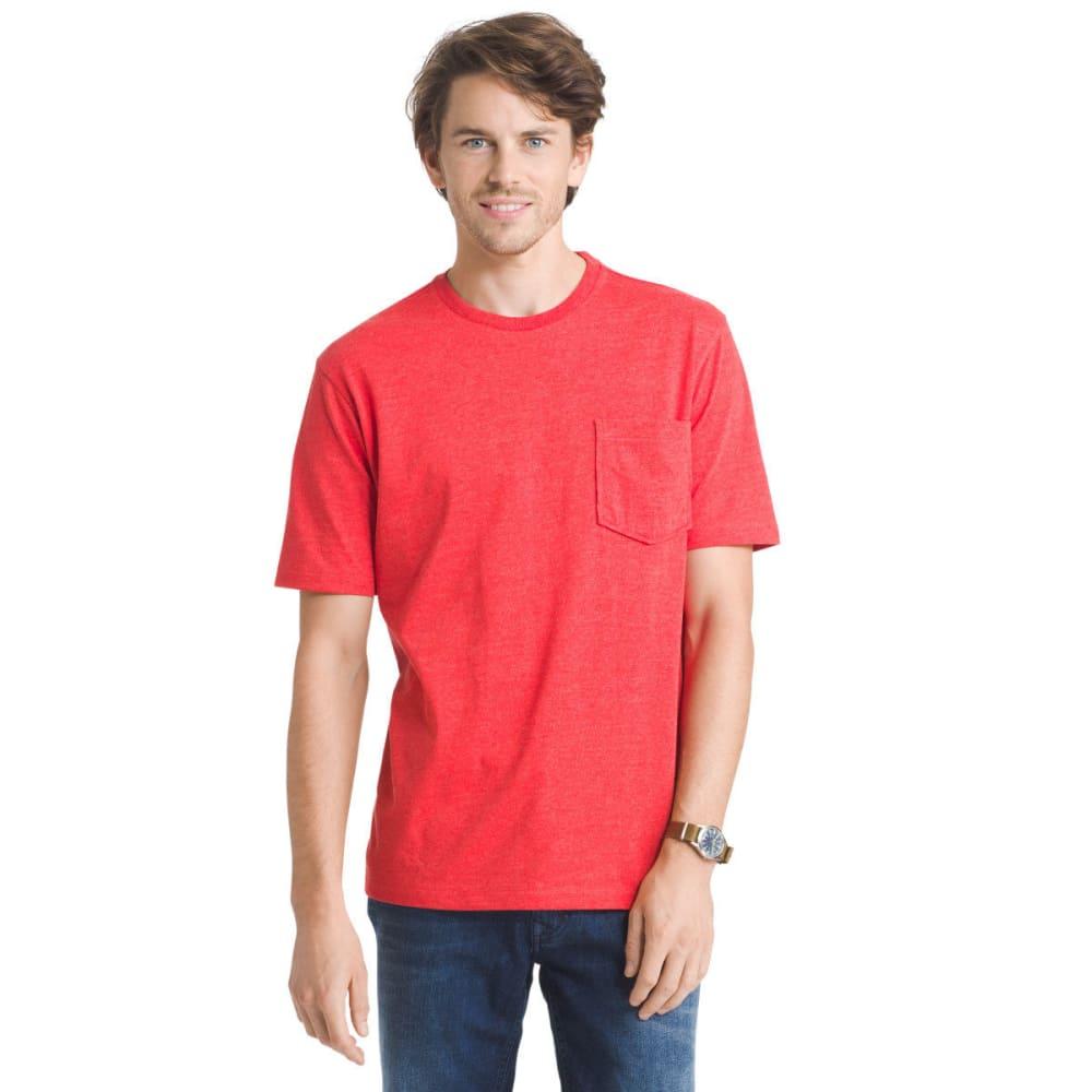 G.H. BASS & CO. Men's Explorer Performance Heather Jersey Pocket Short-Sleeve Tee - HIGH RISK RED - 633