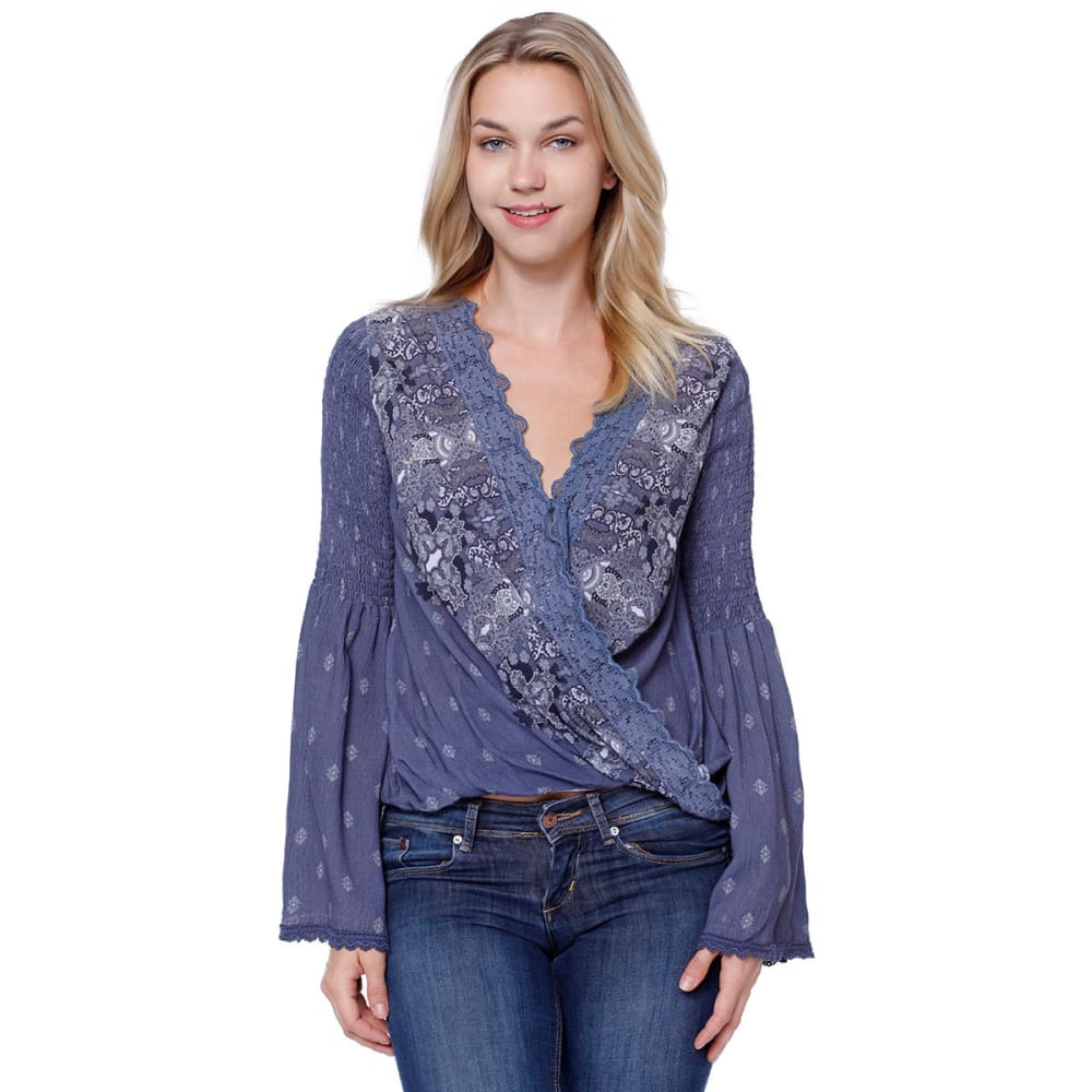 TAYLOR & SAGE Juniors' Printed Bell Sleeve Balloon Waist Top - MEB-MEDIEVAL BLUE