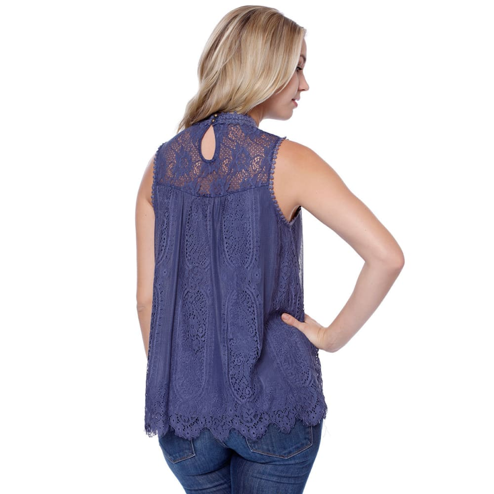 TAYLOR & SAGE Juniors' High-Neck Victorian Lace Tank - MEB-MEDIEVAL BLUE