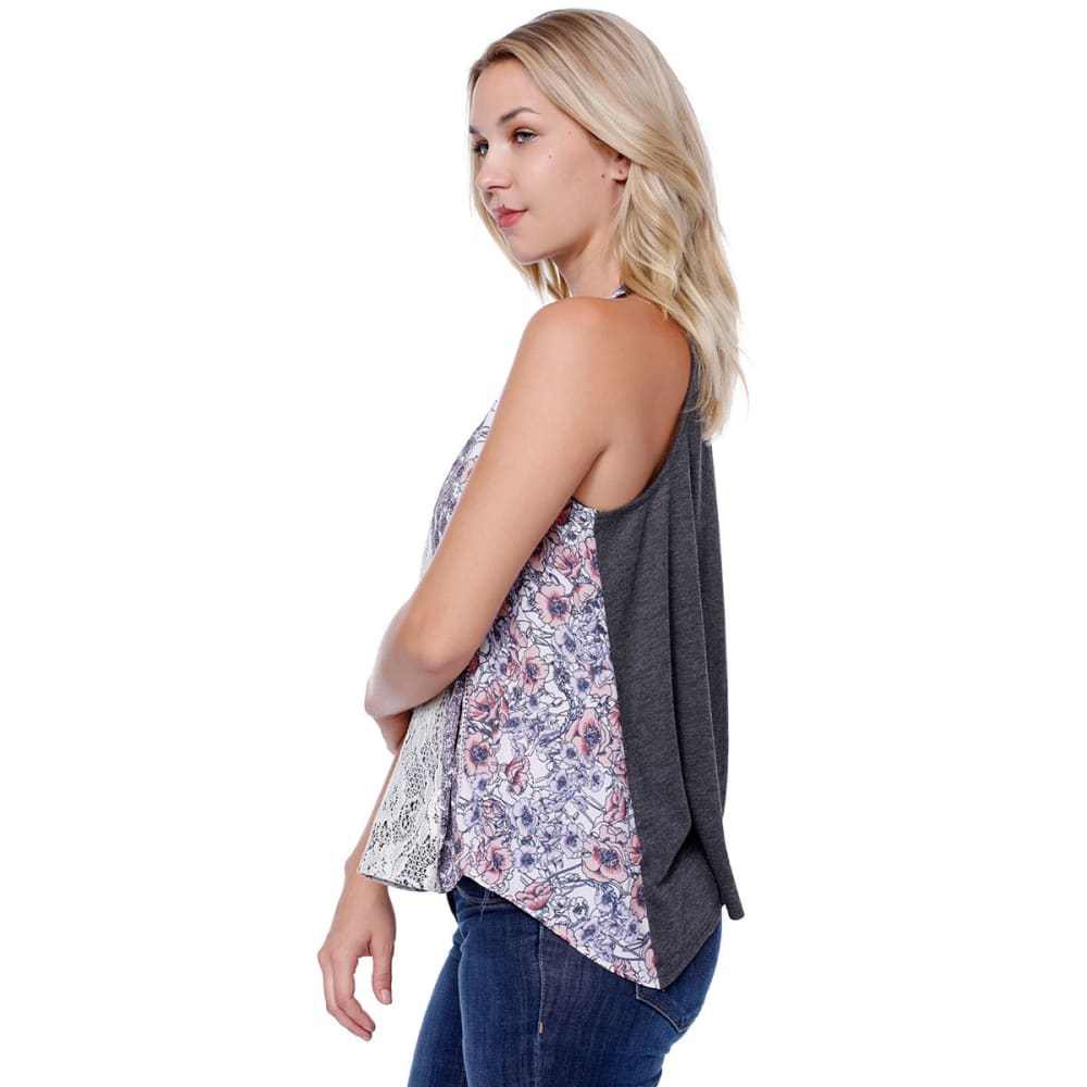 TAYLOR & SAGE Juniors' Floral Lace Inset Swing Tank - HCH-HEATHER CHARCOAL