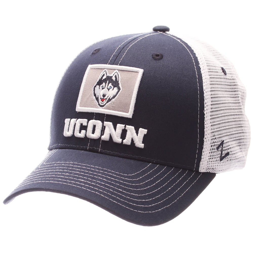 UCONN HUSKIES Men's Stamp Mesh Adjustable Hat - NAVY