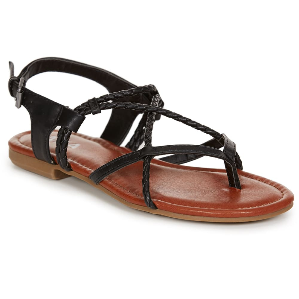 MIA Women's Dana Flat Sandals, Black - BLACK