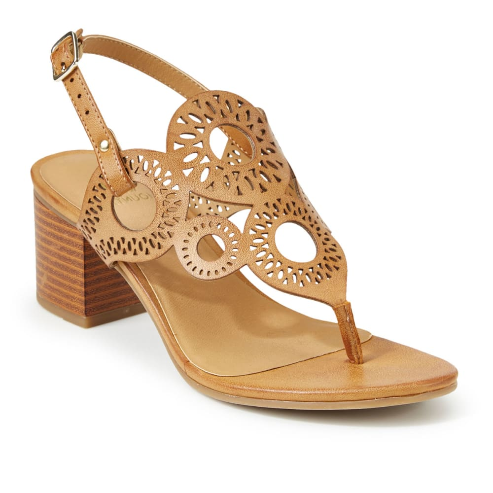 WHITE MOUNTAIN Women's Berkley Cutout Thong Heel Sandals - NATURAL