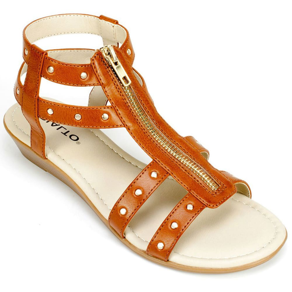 RIALTO Women's Gidget Zipper Demi Wedge Sandals - COGNAC