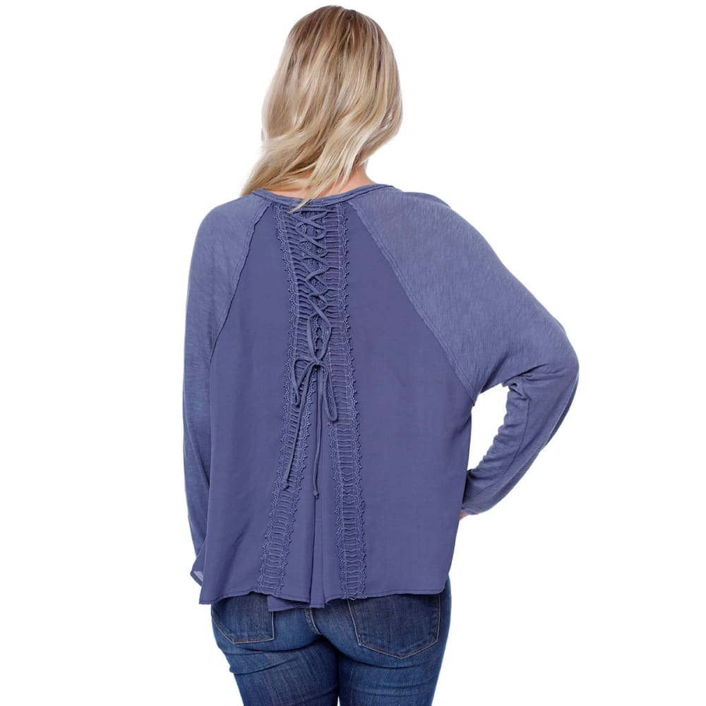 TAYLOR & SAGE Juniors' Crochet Long-Sleeve Top with Lace-Up Back - MEB-MEDIEVAL BLUE