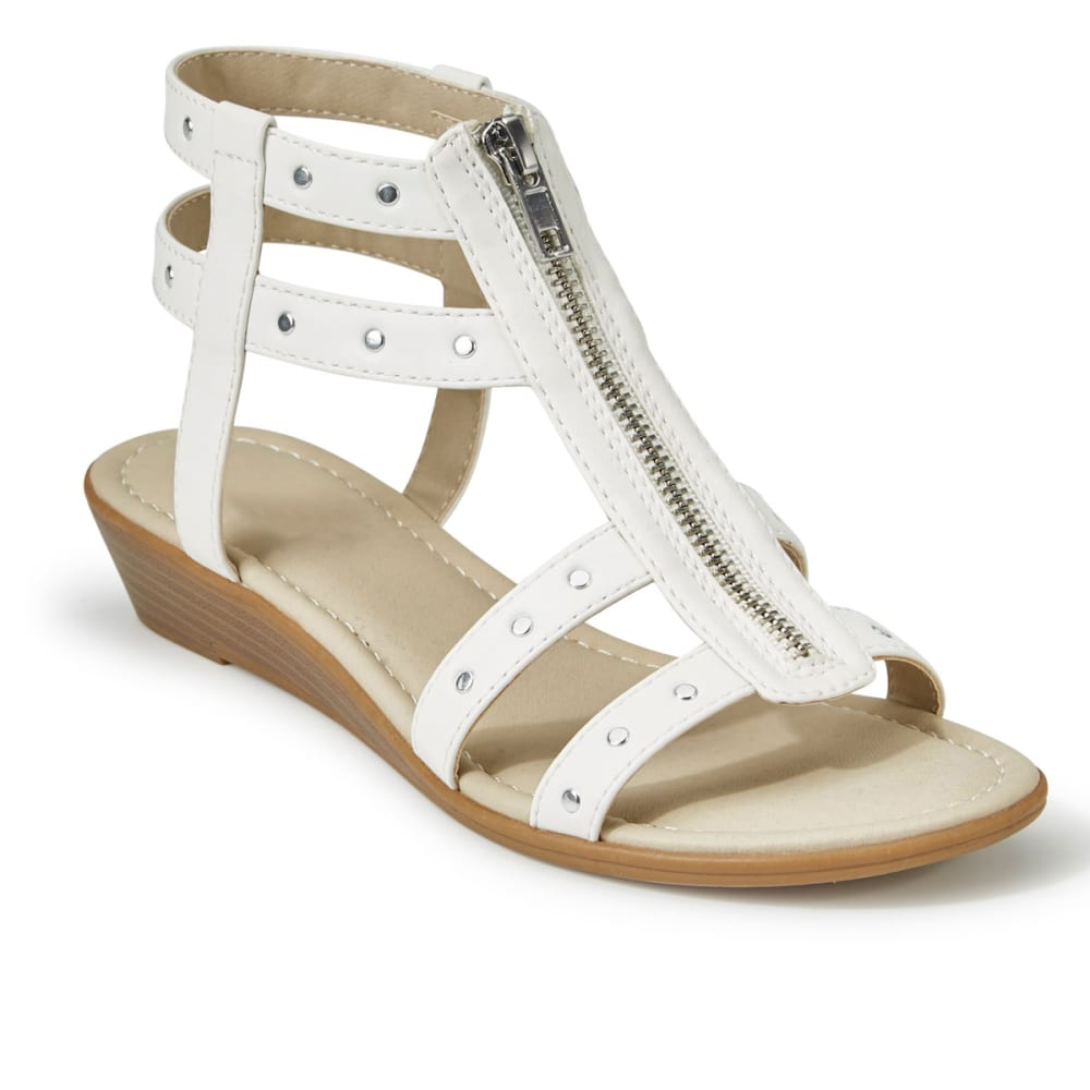 RIALTO Women's Gidget Zipper Demi Wedge Sandals - WHITE