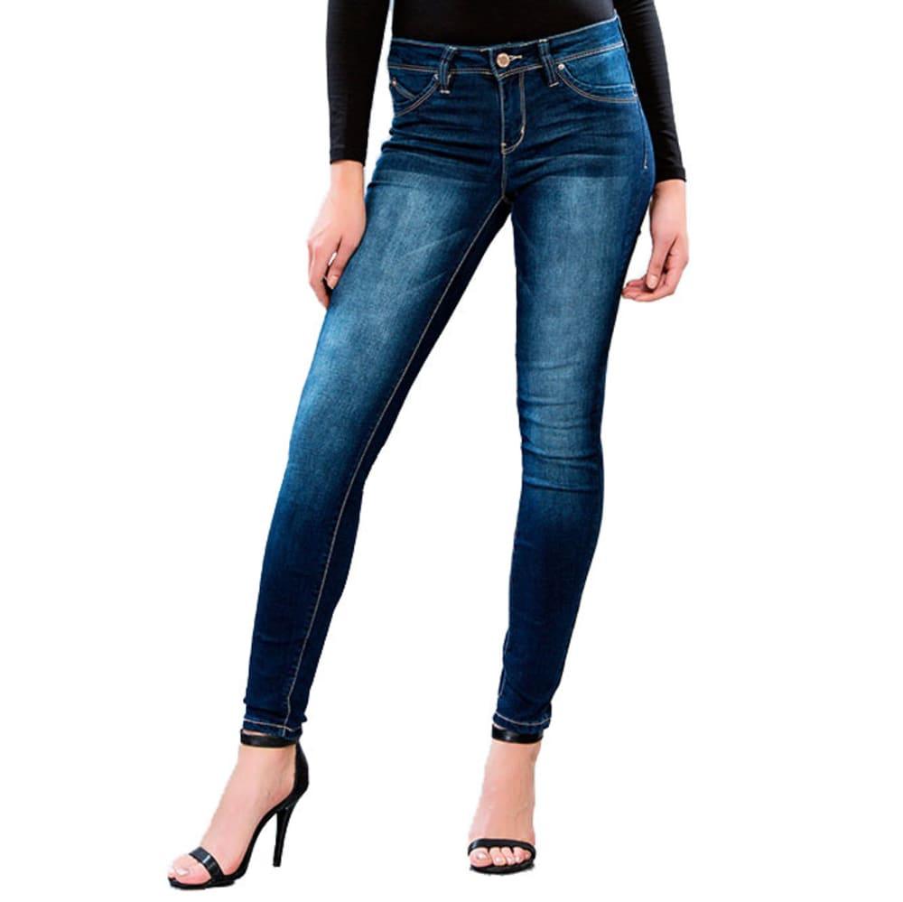 YMI Juniors' WannaBettaButt Super-Soft Midrise Skinny Jeans - S02-DARK WASH