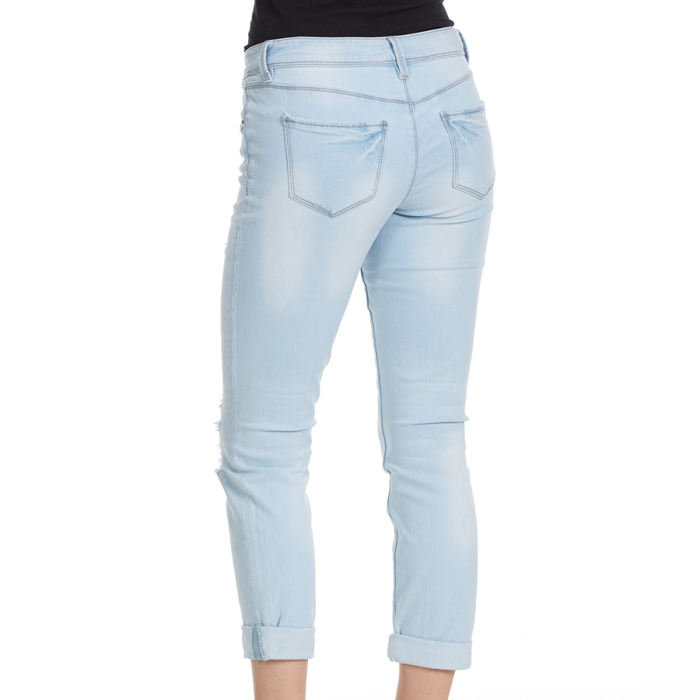 YMI Juniors' Distressed Boyfriend Ankle-Cuffed Jeans - Q445-LIGHT WASH