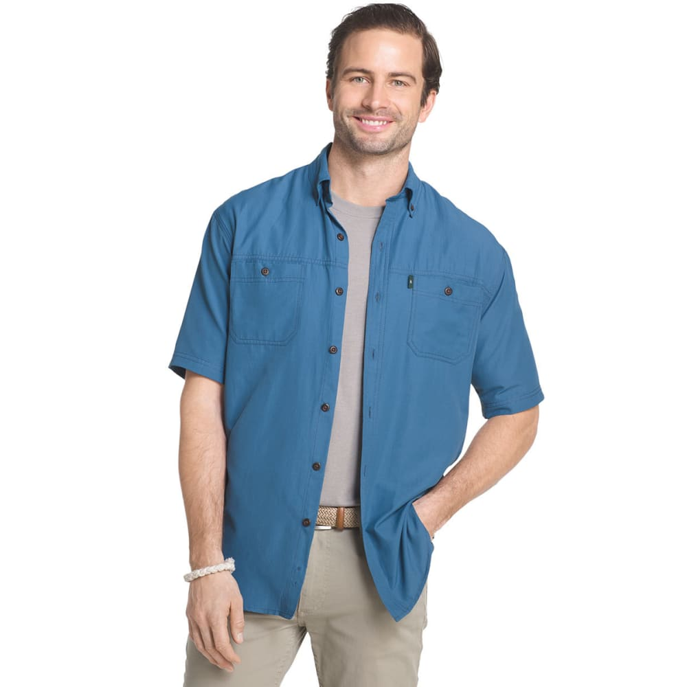 G.H. BASS & CO. Men's Solid Explorer Sportsman Short-Sleeve Shirt - INDIGO SKY - 450