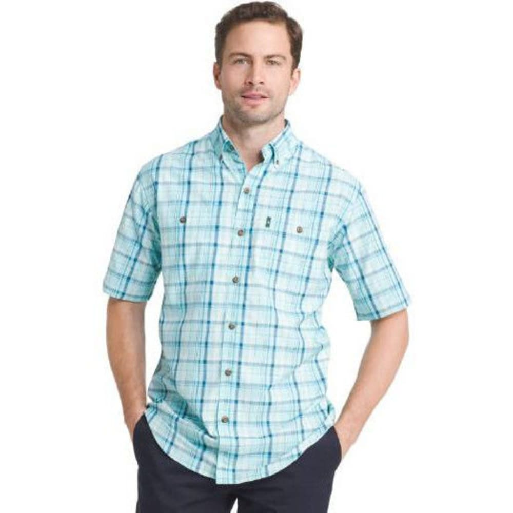 G.H. BASS & CO. Men's Medium Plaid Explorer Sportsman Short-Sleeve Shirt - AQUA SPLASH - 482