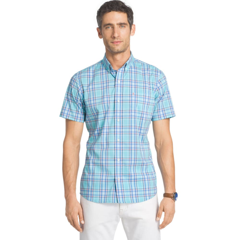 Izod Men's Advantage Stretch Short Sleeve Plaid Shirt - Blue, M
