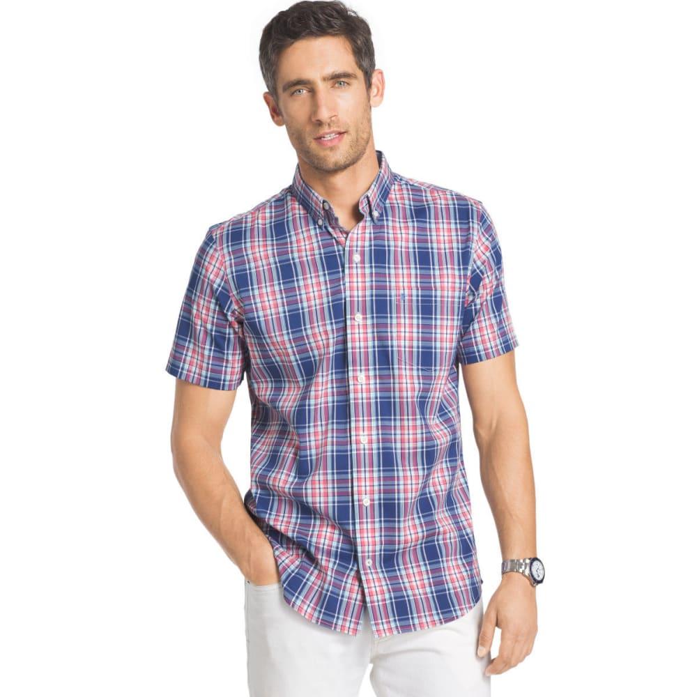 IZOD Men's Advantage Stretch Short Sleeve Plaid Shirt - SUNDRESS - 727