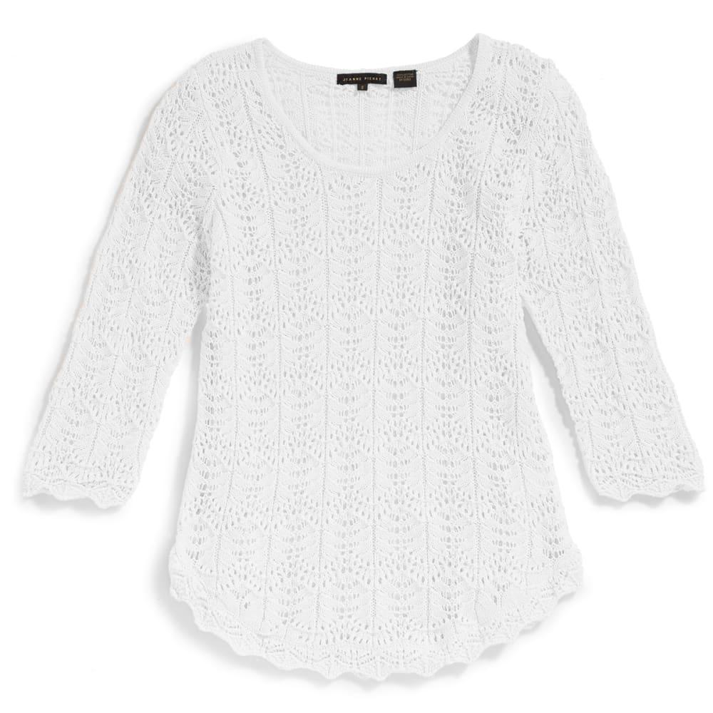 JEANNE PIERRE Women's Pointelle Round Hem Sweater - B WHITE