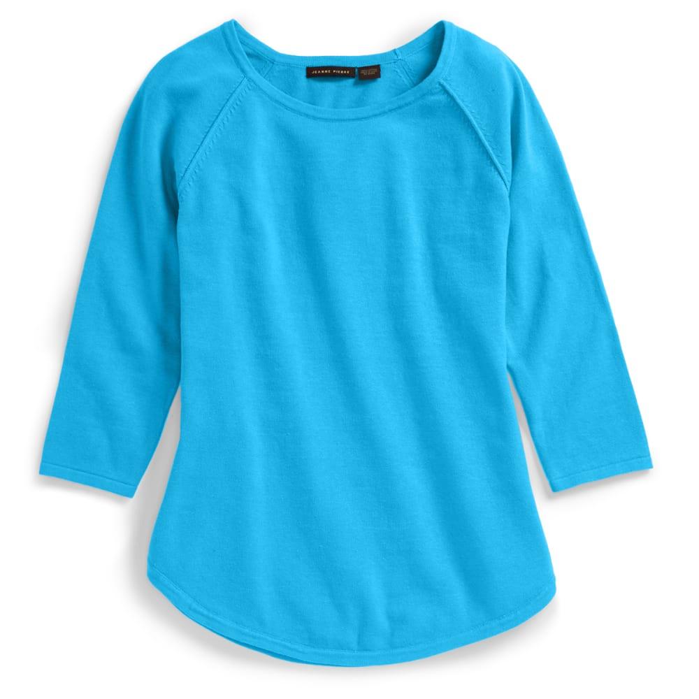 JEANNE PIERRE Women's Solid Round Hem Sweater - BLUE SKY