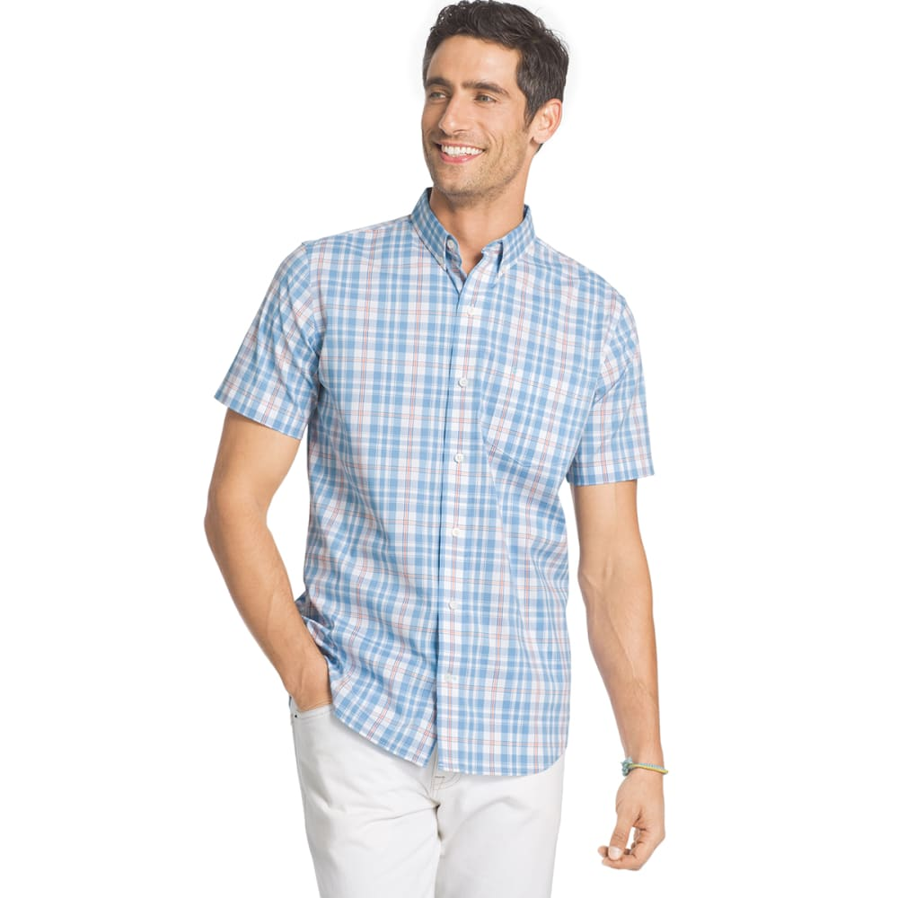 IZOD Men's Advantage Plaid Stretch Short-Sleeve Shirt - HERITAGE BLUE - 433