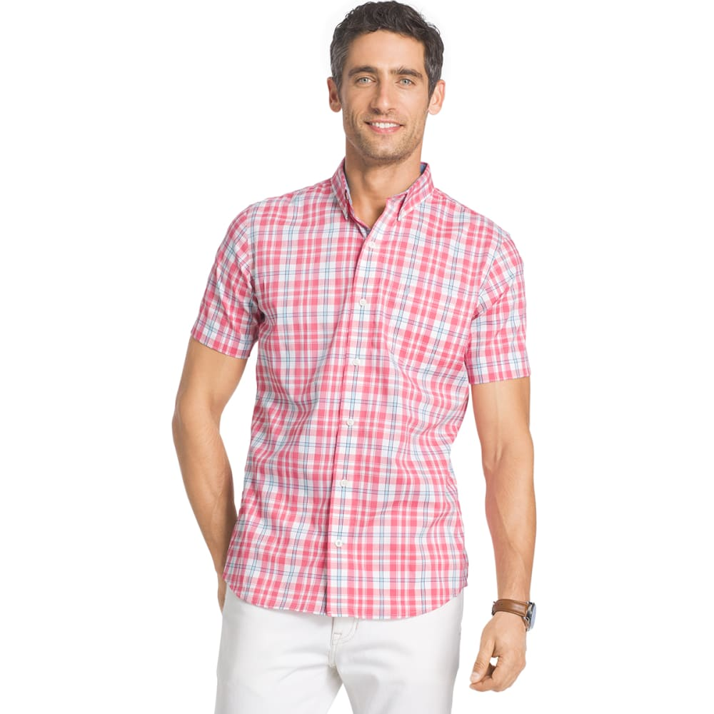 IZOD Men's Advantage Plaid Stretch Short-Sleeve Shirt - RAPTURE ROSE - 697