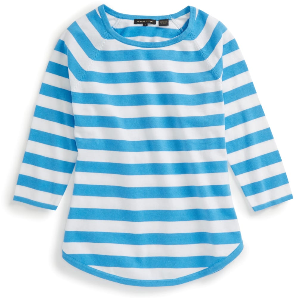 JEANNE PIERRE Women's Striped Round Hem Sweater - BLUE SKY/WHITE