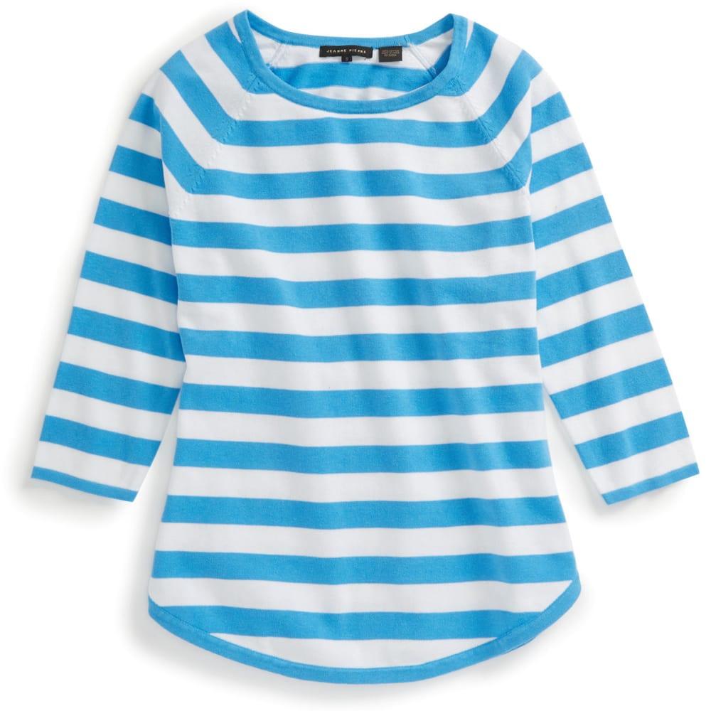 JEANNE PIERRE Women's Striped Round Hem Sweater - BLUE SKY/WHITE